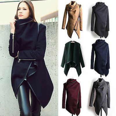 Women Irregular Trench Coat Parka Cardigan Winter Warm Slim Fit Long Jacket US