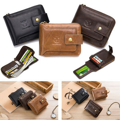 RFID Blocking Mens Leather Bifold Wallet Zipper Card Holder Wallet Purse 3 Color