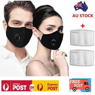 Washable Reusable PM2.5 Anti Air Pollution Face Mask With Respirator &2 Filters