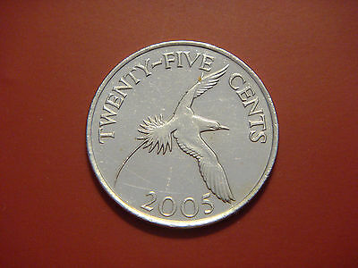 Bermuda 25 Cents, 2005, White-Tailed Tropical Bird