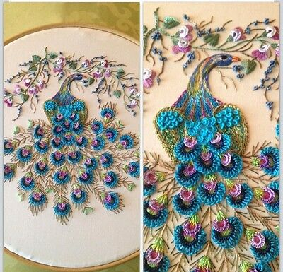 "Brazilian Dimensional Stitchery Embroidery Pattern. ""Majestic Peacock"" *Ivory*"