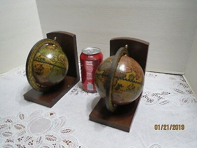 Pair Vintage Mid 20th Century Olde World Globe Bookends Made in Italy