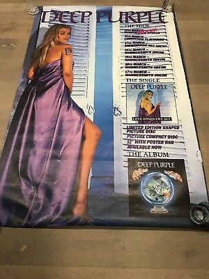 """DEEP PURPLE Love Conquers All UK Tour Subway Sized 40""""x60"""" Promo Poster"""