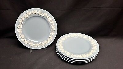 Wedgwood Queensware Cream Color on Lavender Plain Edge Set of 5 Dinner Plates