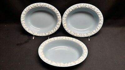 Wedgwood Queensware Cream Color on Lavender Plain Edge Set of 3 Vegetable Bowls