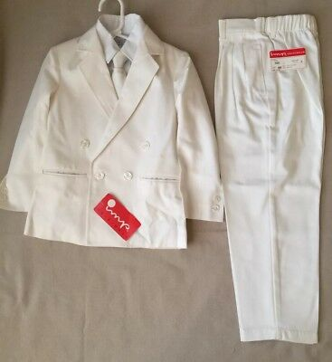 IMP ORIGINALS Vintage NEW Boys 4 Piece WHITE SUIT Jacket Pants Shirt Zip Tie 6