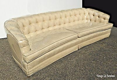 Vintage Rudin Mid Century Chesterfield Style Curved Front Off White Tufted Sofa