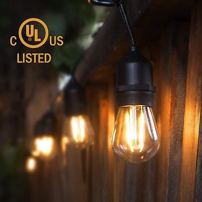 Edison Bulb 49ft Outdoor LED Waterproof String Lights 15 Hanging S14 2W Bulbs