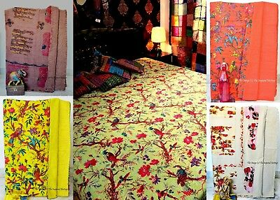 100% Cotton Handmade Throw Quilt Kantha Blanket Indian QUEEN Vintage Bed Cover