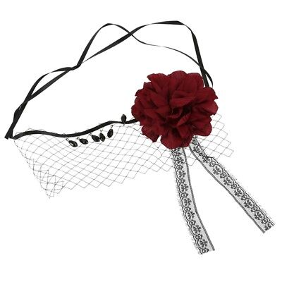 1X(Retro Black Lace Veil Cover Headdress Funny Party Half Face Death COS MaQ2S2)