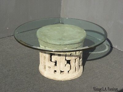 Vintage Greek Key Contemporary Base Coffee Table w Beveled Edge Glass Top