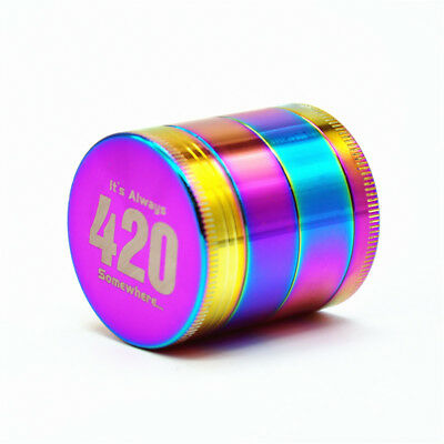 1X 40MM Herb Rainbow Colorful Dazzle Metal 4 Piece Tobacco Spice Crusher Grinder