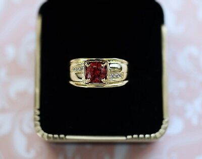 Antique Art Deco Vintage Gold Ring Ruby Red Sapphire White stones size 8 or P
