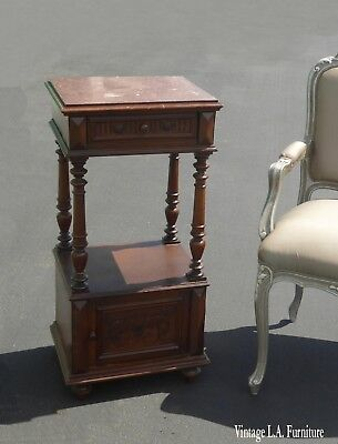 Antique Federal Style Marble Top One Drawer Nightstand w Storage As-Is