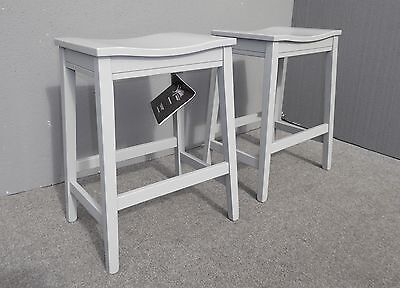 Pair Two Ashley Signature Design Modern Style Gray Wood Counter Stools Barstools