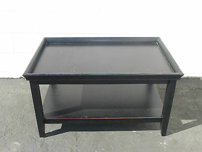 Distressed Black Asian Oriental Modern Tray Two Tier Coffee Table