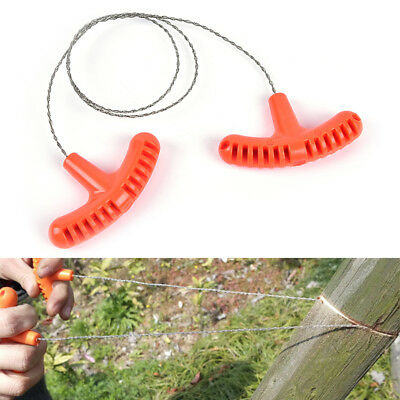 1x stainless steel wire saw outdoor camping emergency survival gear tool