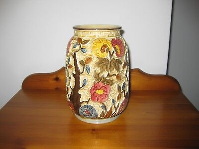 "H J WOODS ENGLAND - Vintage Hand painted vase "" Indian tree"""