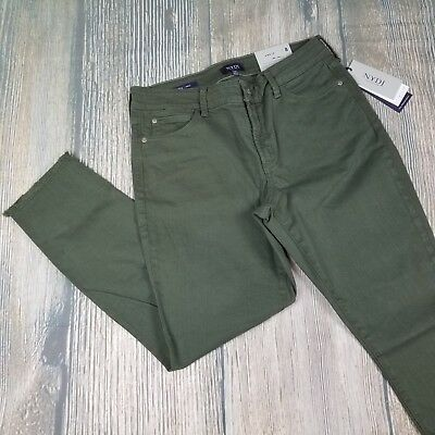 New NYDJ sz 8//10 women/' Alina frayed stretch twill ankle pants in topiary green
