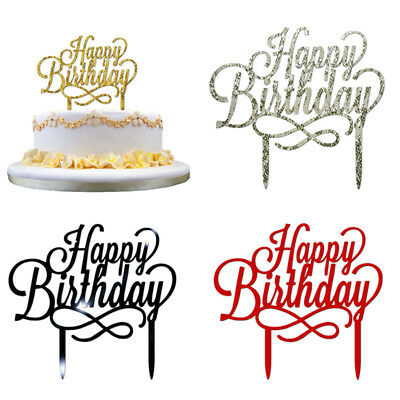 Birthday Cake Topper Happy Party Supplies Acrylic Fashion Decorations