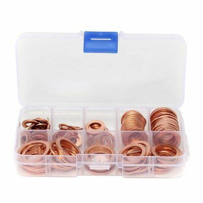 3X(120Pcs 8 Sizes Assorted Solid Copper Crush Washers Seal Flat Ring Set Wi M3V2