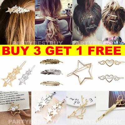 Women's Girls Hair Clip Clamps Hairpin Barrette Slide Grips Star Wedding Jewelry