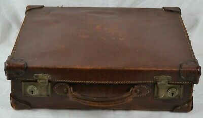 Small Antique Vintage Leather Brown Suitcase Wedding Prop Shop Display Chest