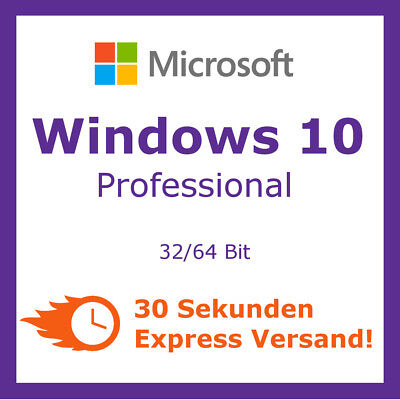 Microsoft Windows 10 Professional Pro ✔ Vollversion Lizenz ✔ 32 & 64 Bit Key