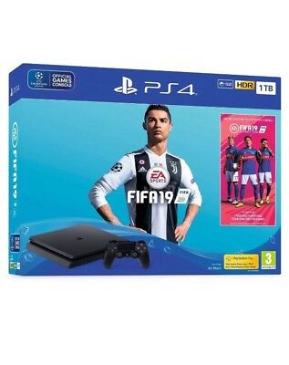 PLAYSTATION 4 CONSOLE Ps4 1TB F CHASSIS SLIM Black+ Fifa 19