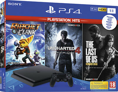 SONY PLAYSTATION 4 PS4 CONSOLE 1TB SLIM + UNCHARTED 4+RATCHET+The Last Of Us