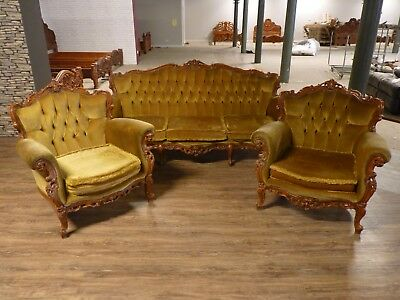Old Antique Queen Anne Style English Country House Sofa, 3 Piece Suite Needs Tlc