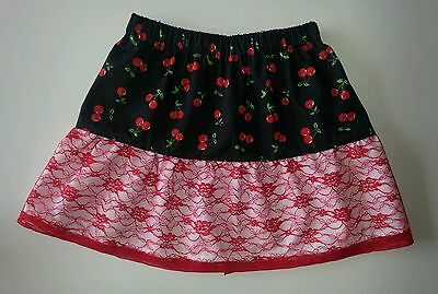 New girls rockabilly cherry frill skirt. Age 5-9. Red lace. Emo. Goth