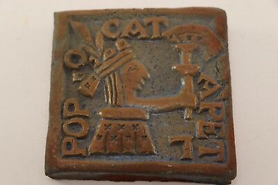Redware Tile Depicts Aztec Priest Worshipping Popcatepetl Volcano Mexico Lore