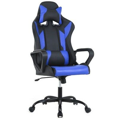 Office Desk Blue Gaming High Back Computer Task Swivel Executive Racing Chair