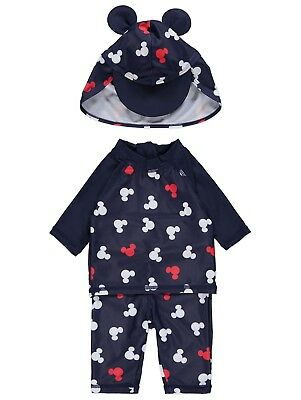 Boys Disney Mickey Mouse Sun Protection Top Bottoms and Hat UV Sunsafe NEW BNWT