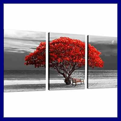 3Piece Canvas Wall Art For Living Room Panoramic BLACK & WHITE W RED Trees The S