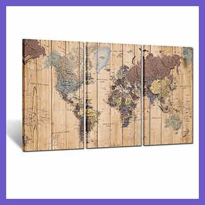 Large Size 3 Panel Vintage World Map Canvas Wall Art For Home Decor Of The Poste