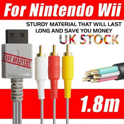 For Nintendo Wii /Wii U Game  3RCA Audio Video  Game TV  Wire  AV Composite