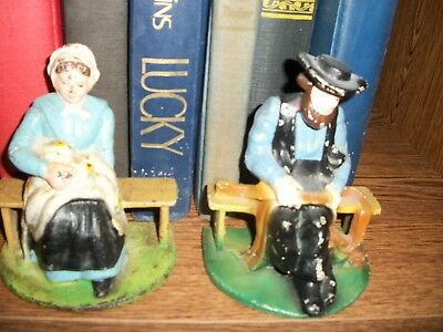 Antique ORIGINAL Cast Iron 1920's WILTON BOOKENDS Amish Man & Woman HAND PAINTED