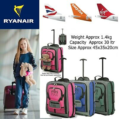 Childrens Boys Girls Kids Hand Cabin Luggage Trolley Bag Suitcase Set Wheels