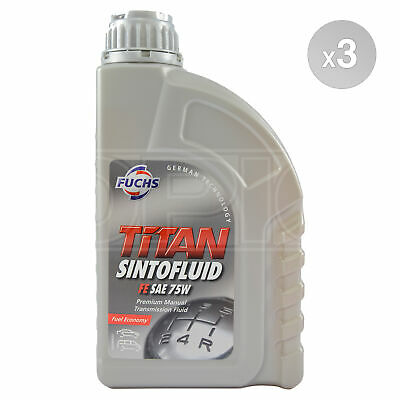 Fuchs TITAN SINTOFLUID FE SAE 75W Synthetic Manual Transmission 3 x 1 Litre 3L