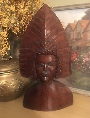 Interesting Tribal Bust Statue Wooden Figurine Carving Indonesian? Polynesian?
