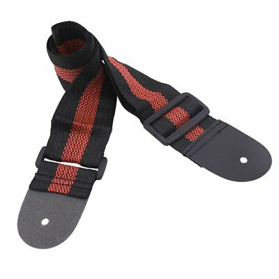 Durable Nylon Guitar Strap Belt Leather Ends for Acoustic Electric Bass LF