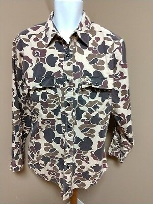 Vintage Retro Winchester Long Sleeve Button Up Duck Hunting Shirt Men's M
