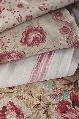 Antique French fabric vintage material PROJECT scraps patchwork floral pillows
