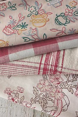 Antique French fabric vintage material PROJECT scraps patchwork PINK old