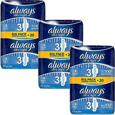 Always Ultra Nuit Serviettes Hygiéniques Tampons Taille 3 Ailes Femmes Absorbant