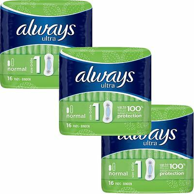 Always Ultra Normal Serviettes Hygiéniques Pads Taille 1 Femmes Super Absorbant