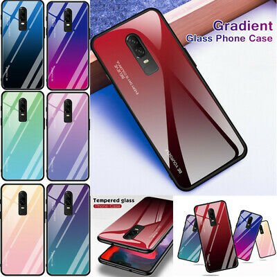 1+6 Shockproof Hybrid Bumper Gradient Tempered Glass Case Cover For OnePlus 6/6T