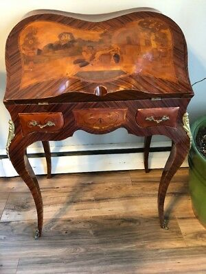 Louis XV Style French Bombe Ladies Writing Desk Antique